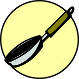 Frying pan kitchen utensil cookware. Vector. Illustration of an empty frying pan kitchen utensil or cookware. Vector file available in EPS format Stock Photo