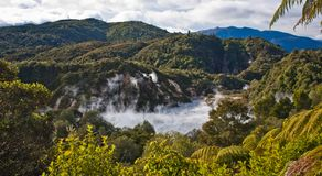 Frying pan lake in Waimangu volcanic valley in New Zealand. Geotherml park in NZ, panoramatic view of volcanic activity, geothermal tourism, endemic zealandia stock photo