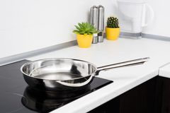 Frying pan in modern kitchen Royalty Free Stock Images