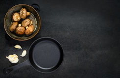 Frying Pan with Mushrooms and Copy Space Stock Photos