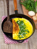 Frying pan with omelette Royalty Free Stock Images