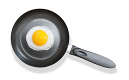 Frying pan with fried egg on white Royalty Free Stock Photography