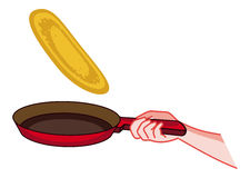 Frying pan with a pancake. Raster clip art. Stock Photography