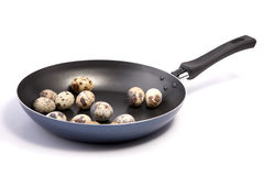 Frying pan with quail eggs Stock Photos