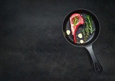 Frying Pan with Raw Lamb Chops on Copy Space Stock Photo