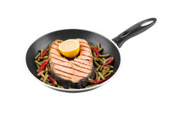 Frying pan with salmon steak Royalty Free Stock Photo