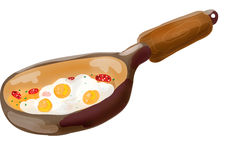 Frying pan with scrambled eggs Royalty Free Stock Photo