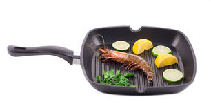Frying pan with shrimp Stock Photo