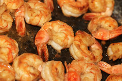 Frying pan with shrimps scampi Stock Images