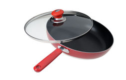 Frying pan with the slightly opened glass cover Royalty Free Stock Photography