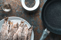 Frying pan, smelt on the plate, salt and spices Royalty Free Stock Photos