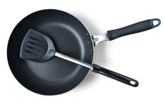Frying pan and spatula Royalty Free Stock Photo