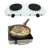 Frying pan on stove Stock Photos