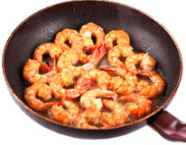 Frying Pan with Tiger Prawns Royalty Free Stock Photo