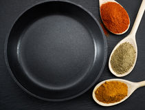 Frying pan and various spices Royalty Free Stock Photography