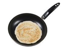 Frying a pancake. Cooking in a pan Royalty Free Stock Photos