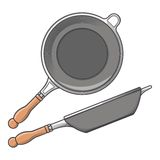 Frying pans (side and top view) isolated on a white background. Color line art. Cookware retro design. Royalty Free Stock Photography