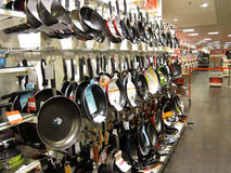 Frying pans on a store display. Royalty Free Stock Images