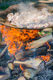 Frying pork meat on a wood fire Royalty Free Stock Photo
