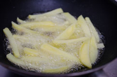 Frying potatoes in a pan Royalty Free Stock Images