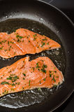 Frying salmon. Frying fish in a pan Royalty Free Stock Image