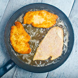 Frying Schnitzel Royalty Free Stock Image