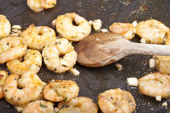 Frying shrimps Stock Image