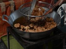 Frying spicy fish cake stock video footage
