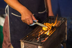 Frying squid barbecue Stock Photography