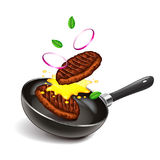 Frying steaks on pan isolated vector vector illustration