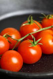 Frying tomatoes cast iron pan Stock Photography
