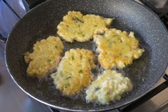 Frying of vegetable fritters Royalty Free Stock Photo