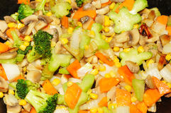 Frying vegetables background Stock Image