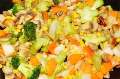 Frying vegetables background Stock Image