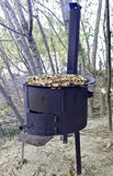 Frying wild mushrooms in the field Stock Photo
