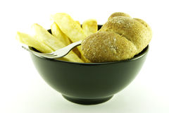 Frys in a Black Bowl Stock Photos