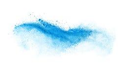 Frysa rörelse av den blåa dammexplosionen som isoleras på Royaltyfri Foto