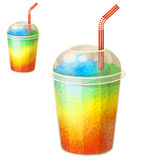 Fryst drink för regnbågeis kopp Tecknad filmvektorsymbol som isoleras på vit bakgrund royaltyfri illustrationer