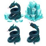 Fryst i is och töad orm, fyra vektorbilder vektor illustrationer