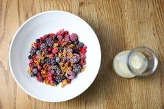 Fryste frukter med granola och yoghurten, sund fruktfrukost arkivfoto