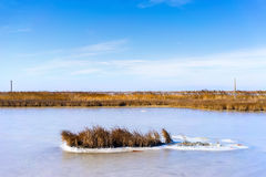 fryste lagun Kalochori i Grekland Arkivbild