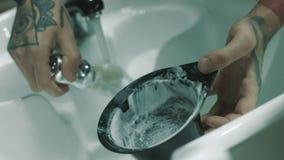 Fryzjerów męskich baty goli pianę zdjęcie wideo