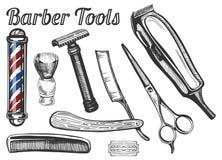 Fryzjerów męskich narzędzia Ustawiający zdjęcia stock