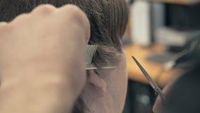 Fryzjer Ciie włosy na świątyni klient w salonie Mężczyzna obsiadanie w fryzjera karle Podczas gdy Shearing Z zdjęcie wideo