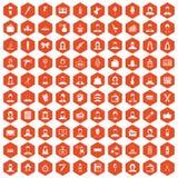 100 fryzjer ikon sześciokąta pomarańcze ilustracja wektor