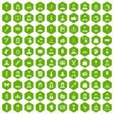 100 fryzjer ikon sześciokąta zieleń ilustracji