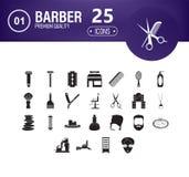 Fryzjer ikony set 25 editable wypełniających fryzjerów ikon tak jak grępla, włosiana suszarka, fryzjera męskiego muśnięcie, włosi royalty ilustracja