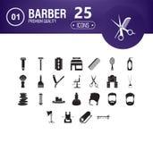 Fryzjer ikony set 25 editable wypełniających fryzjerów ikon tak jak grępla, włosiana suszarka, fryzjera męskiego muśnięcie, włosi ilustracji