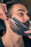 Fryzjer męski broda ciie klienta brodę z cążkami Zdjęcie Royalty Free