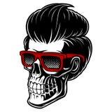 Fryzjer męski czaszka z moda włosy royalty ilustracja